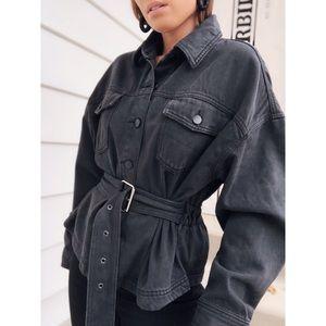 Faded Black Belted Denim Jacket - Obsessed